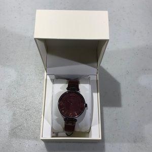 Burgundy wrist watch